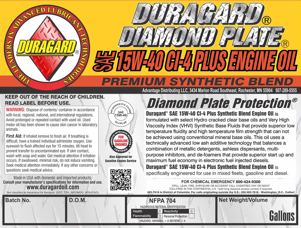 dp ghs dura diamond syn oil blend label duragard sae motor synthetic plate